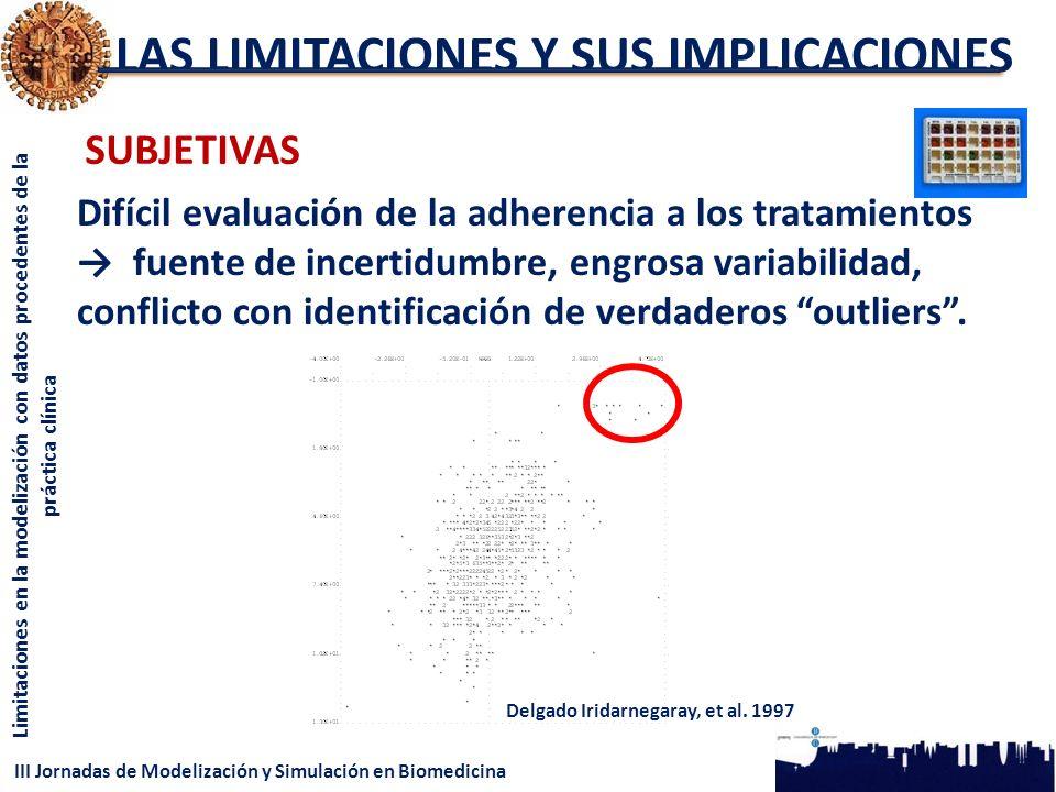 III Jornadas de Modelización y Simulación en Biomedicina Limitaciones en la modelización con datos procedentes de la práctica clínica LAS LIMITACIONES Y SUS IMPLICACIONES SUBJETIVAS Difícil evaluación de la adherencia a los tratamientos fuente de incertidumbre, engrosa variabilidad, conflicto con identificación de verdaderos outliers.
