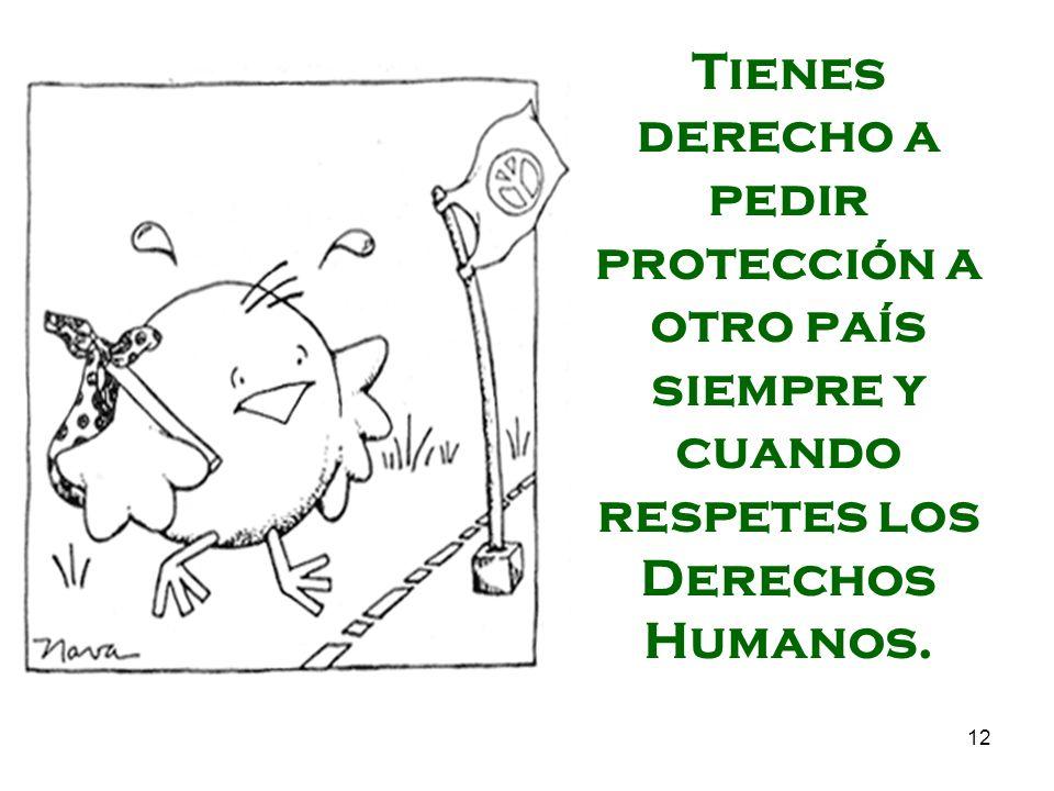 12 Tienes derecho a pedir protección a otro país siempre y cuando respetes los Derechos Humanos.
