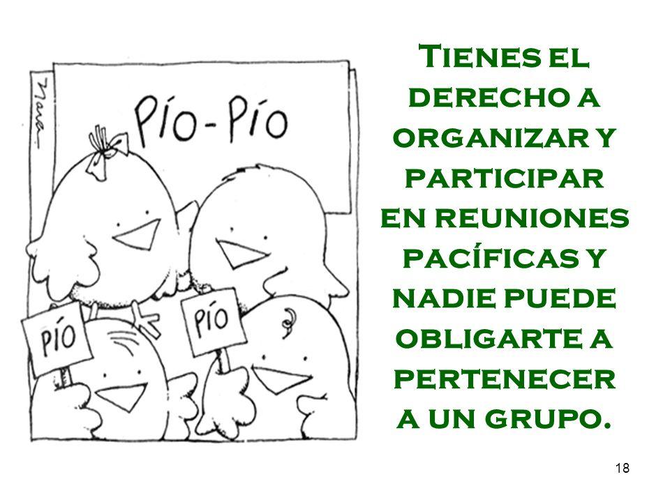18 Tienes el derecho a organizar y participar en reuniones pacíficas y nadie puede obligarte a pertenecer a un grupo.