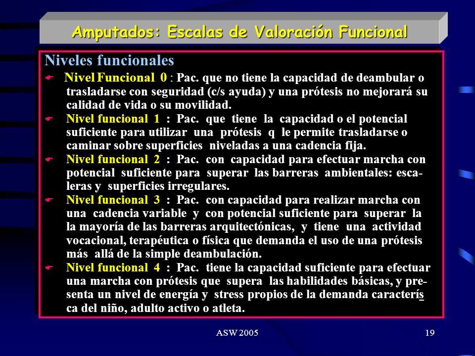 ASW 200518 Amputados: Escalas de Valoración Funcional Clasificación de Pohjolainen Clase I : Marcha con prótesis y sin otra ayuda técnica. Clase II :