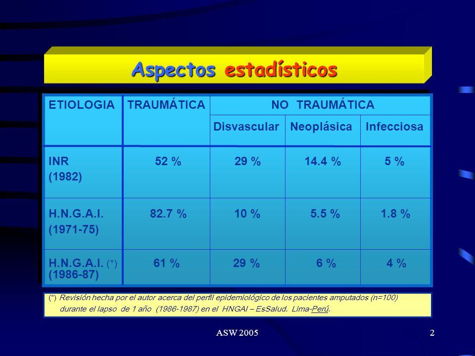 ASW 20051 Manejo Integral del Amputado de Miembro Inferior Dr. Carlos Arce G. HNGAI Lima - Perú 2005