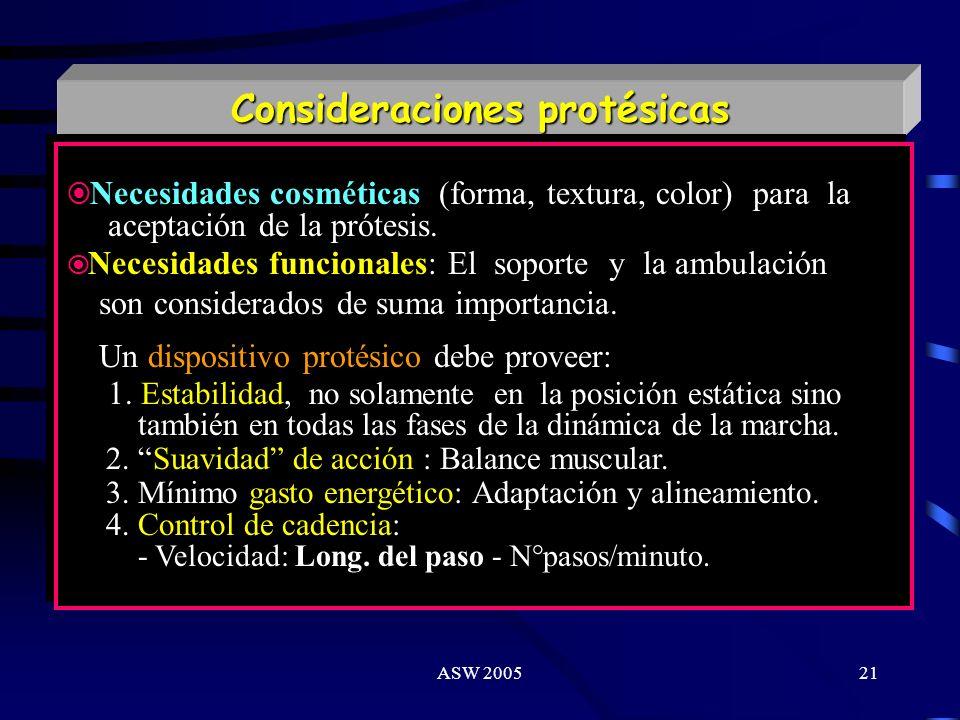ASW 200520 Factores relacionados a la Marcha Factores del paciente Condiciones intrínsecas del muñon. Procesos de comorbilidad. Tolerancia al esfuerzo