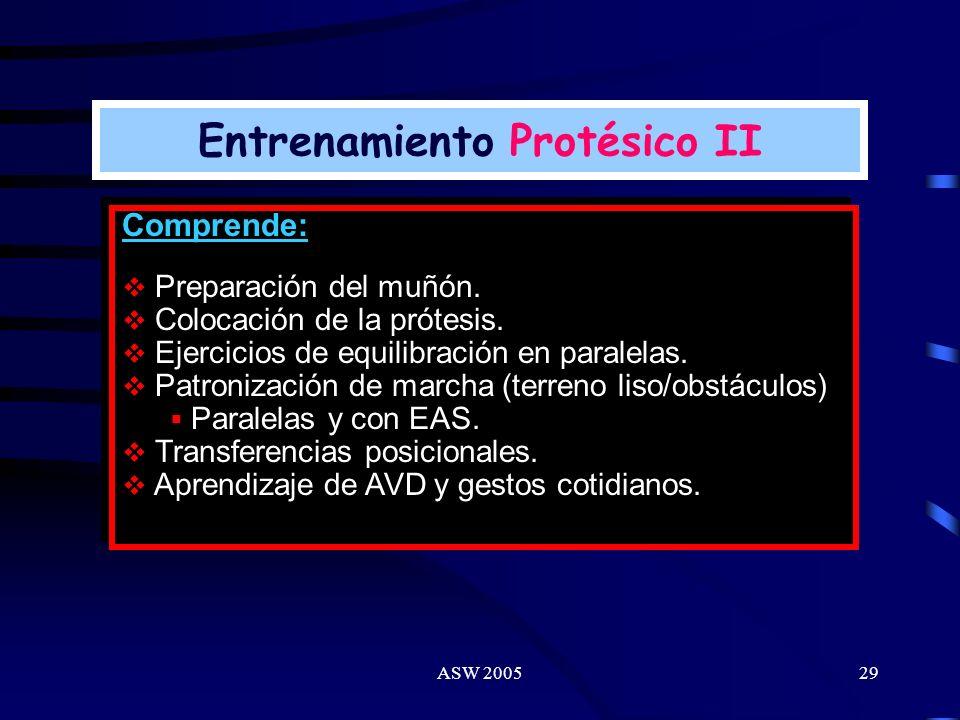 ASW 200528 Concepto: Entrenamiento con dispositivos protésicos a fin de lograr un nuevo esquema de marcha (AMI) y alcanzar el máximo de independencia