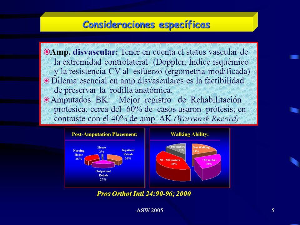ASW 20054 Aspectos estadísticos Tendencia làpsica de efectuar amputaciones a niveles más dístales (transmetatarsianas o transtibiales) en pacientes di