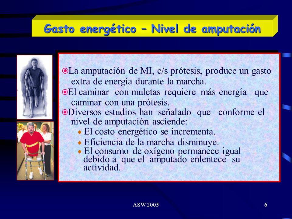 ASW 20056 La amputación de MI, c/s prótesis, produce un gasto extra de energía durante la marcha.
