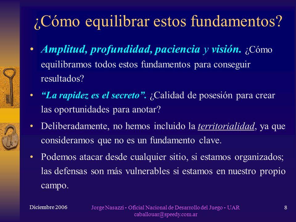 Diciembre 2006 Jorge Nasazzi - Oficial Nacional de Desarrollo del Juego - UAR caballouar@speedy.com.ar 8 ¿Cómo equilibrar estos fundamentos.