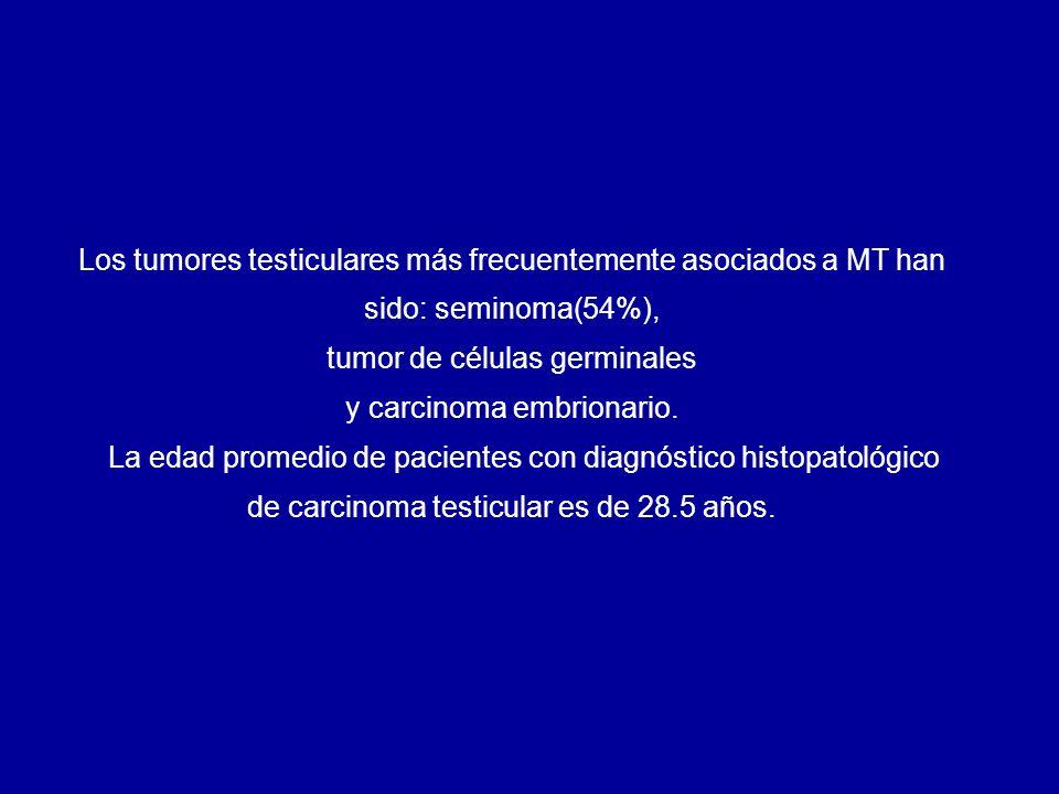 En el transcurso de 2 años (2005-2007) se seleccionaron 9 pacientes con diagnóstico de MT, quienes fueron controlados con seguimiento ecográfico y se realizó una orquiectomía a los pacientes con una imagen nodular sospechosa o marcadores tumorales altos.