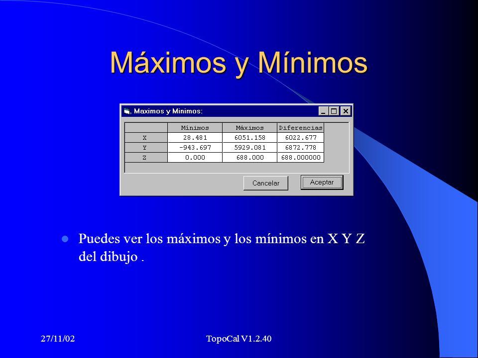 27/11/02TopoCal V1.2.40 Entidades Puedes ver en todo momento la cantidad de entidades que tienes.