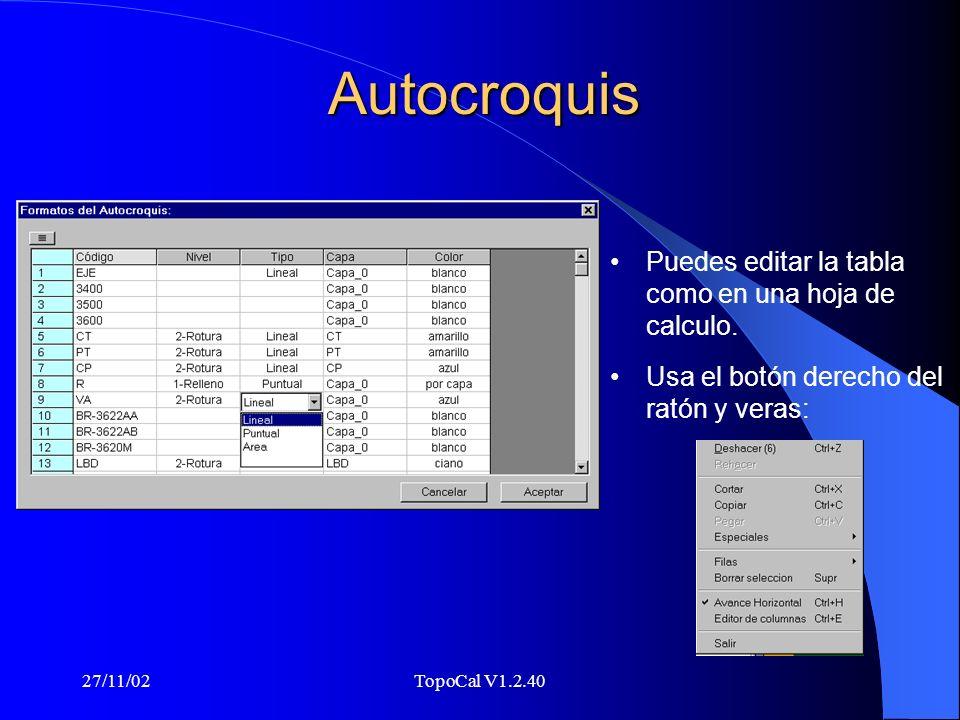 27/11/02TopoCal V1.2.40 Puntos repetidos Un fichero con 7000 puntos te lo puede dejar en los puntos originales que pueden ser en algunos casos (ejemplos) 380, esto es porque Autocad repite el punto para cada entidad que lo usa.