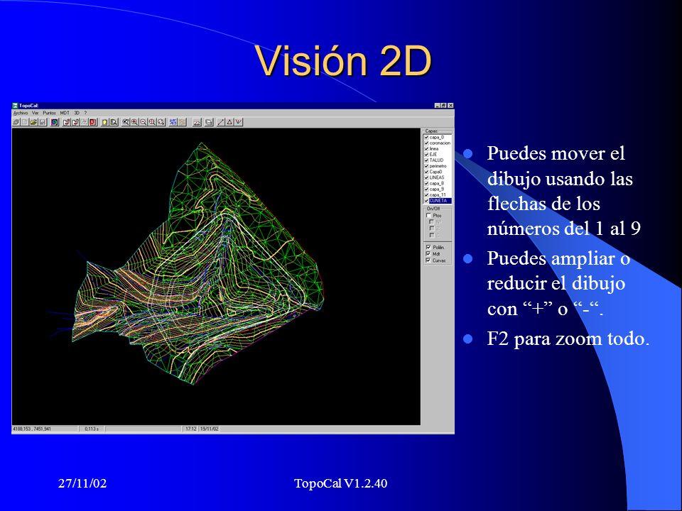 27/11/02TopoCal V1.2.40 Visión 2D Puedes mover el dibujo usando las flechas de los números del 1 al 9 Puedes ampliar o reducir el dibujo con + o -.