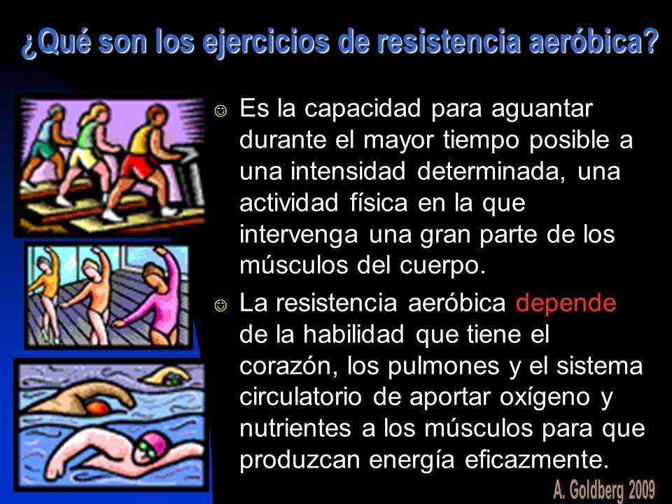 ¿Qué son los ejercicios de resistencia aeróbica? Es la capacidad para aguantar durante el mayor tiempo posible a una intensidad determinada, una activ