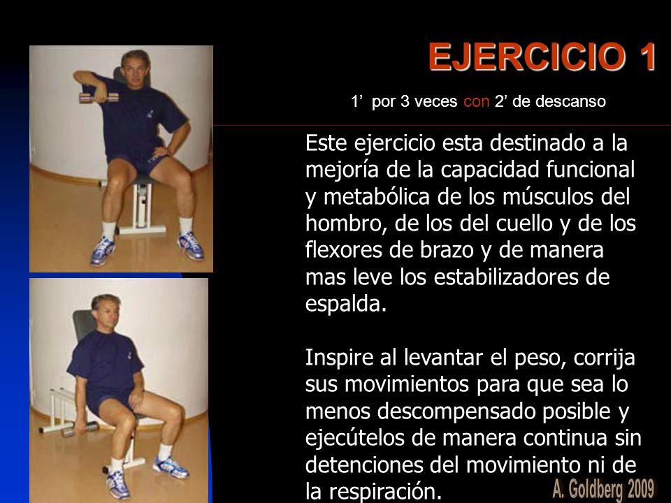 EJERCICIO 1 Este ejercicio esta destinado a la mejoría de la capacidad funcional y metabólica de los músculos del hombro, de los del cuello y de los f
