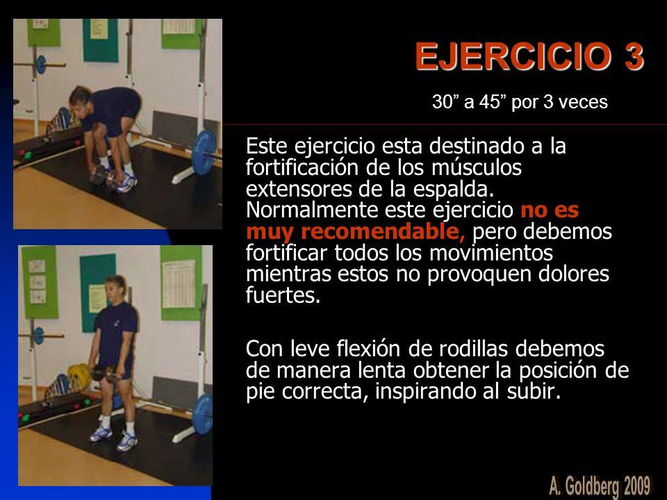 EJERCICIO 3 Este ejercicio esta destinado a la fortificación de los músculos extensores de la espalda. Normalmente este ejercicio no es muy recomendab