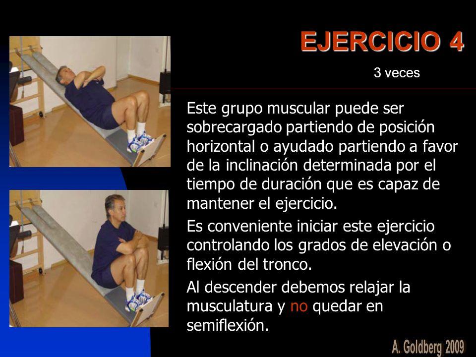 EJERCICIO 4 Este grupo muscular puede ser sobrecargado partiendo de posición horizontal o ayudado partiendo a favor de la inclinación determinada por