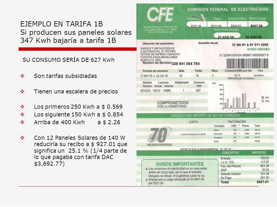 EJEMPLO EN TARIFA 1B Si producen sus paneles solares 347 Kwh bajaría a tarifa 1B SU CONSUMO SERÍA DE 627 Kwh Son tarifas subsidiadas Tienen una escale