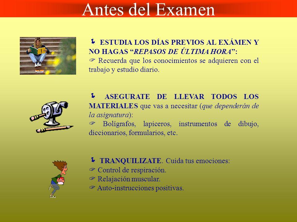Durante el Examen Presta la MÁXIMA ATENCIÓN a las indicaciones del profesor/a.