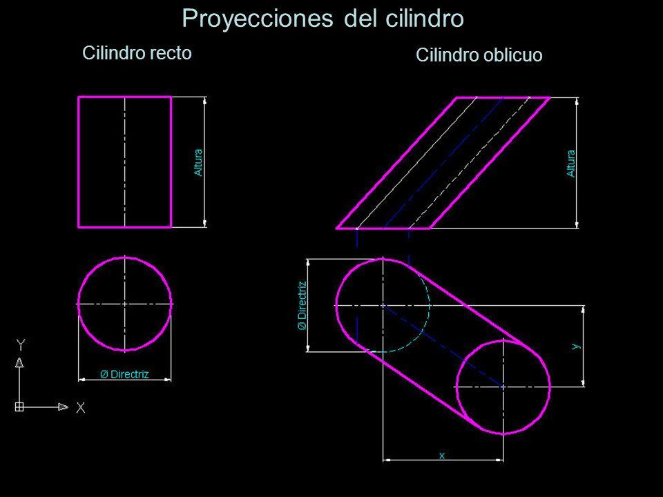 Cilindro recto Proyecciones del cilindro Cilindro oblicuo