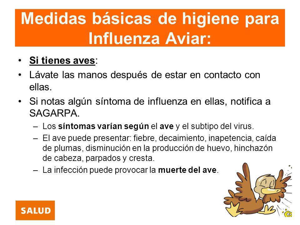 Medidas básicas de higiene para Influenza Aviar: Si tienes aves: Lávate las manos después de estar en contacto con ellas. Si notas algún síntoma de in