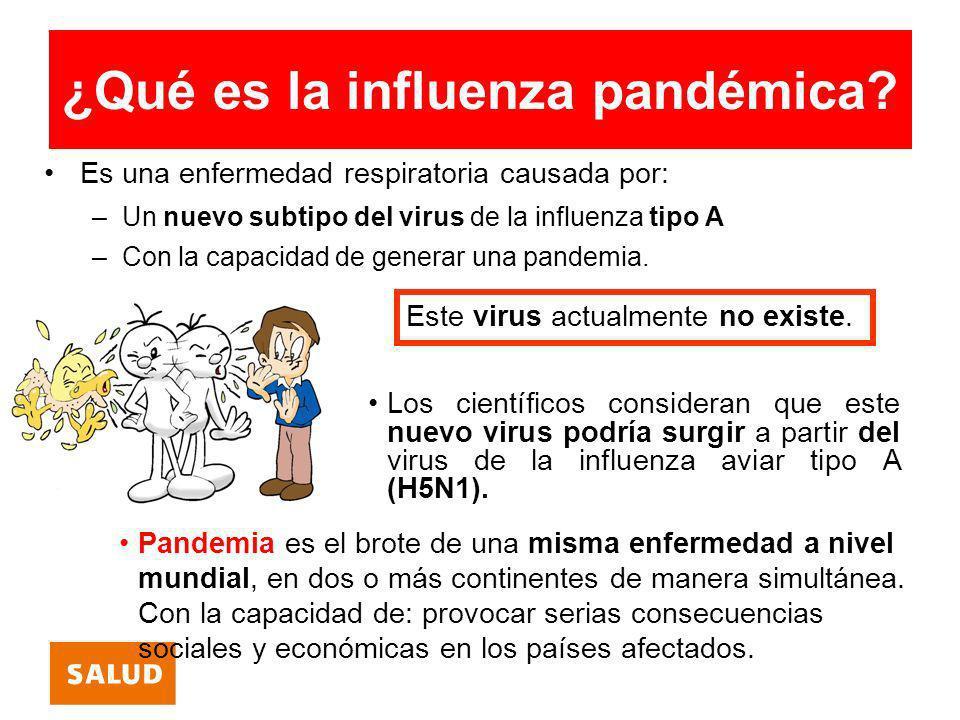 ¿Qué es la influenza pandémica? Es una enfermedad respiratoria causada por: –Un nuevo subtipo del virus de la influenza tipo A –Con la capacidad de ge