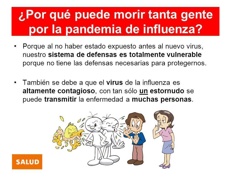 ¿Por qué puede morir tanta gente por la pandemia de influenza? Porque al no haber estado expuesto antes al nuevo virus, nuestro sistema de defensas es