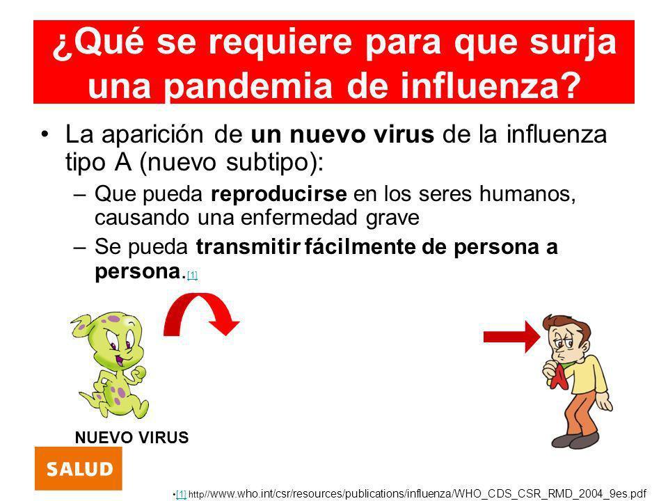 ¿Qué se requiere para que surja una pandemia de influenza? La aparición de un nuevo virus de la influenza tipo A (nuevo subtipo): –Que pueda reproduci