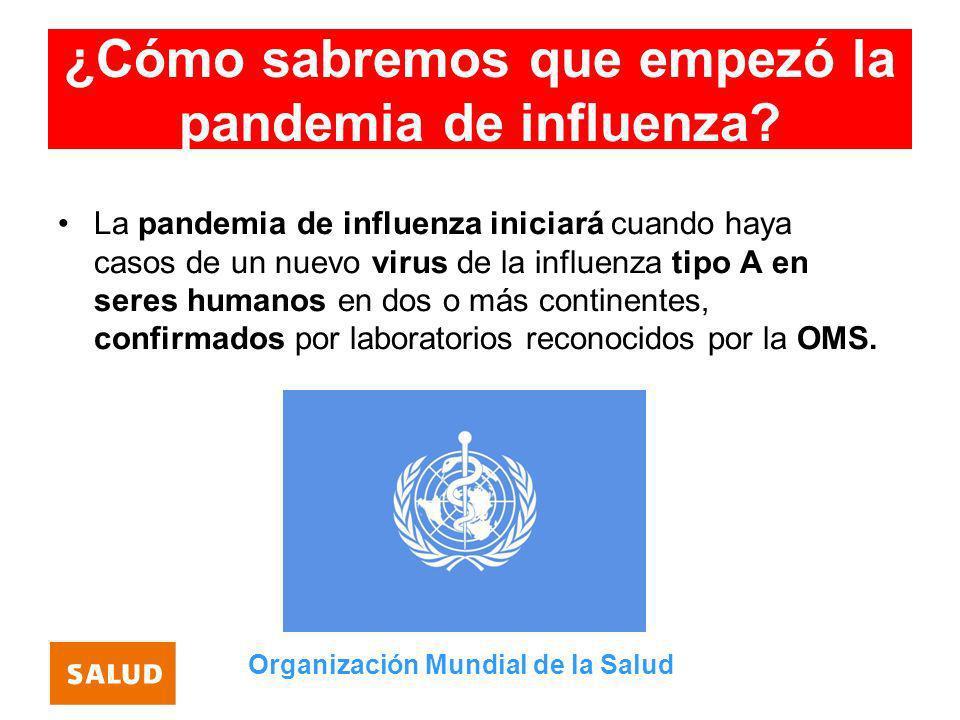 ¿Cómo sabremos que empezó la pandemia de influenza? La pandemia de influenza iniciará cuando haya casos de un nuevo virus de la influenza tipo A en se