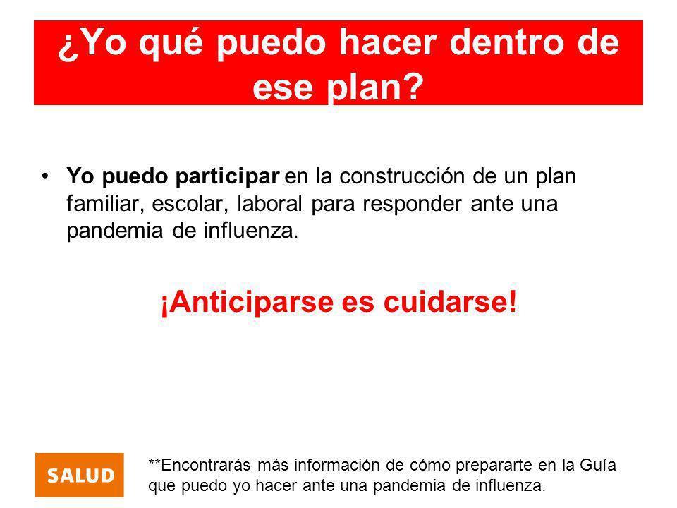 ¿Yo qué puedo hacer dentro de ese plan? Yo puedo participar en la construcción de un plan familiar, escolar, laboral para responder ante una pandemia