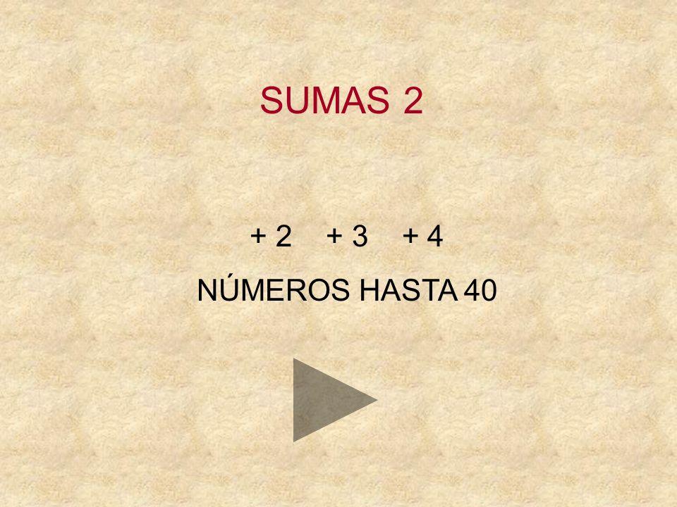 SUMAS 2 + 2 + 3 + 4 NÚMEROS HASTA 40