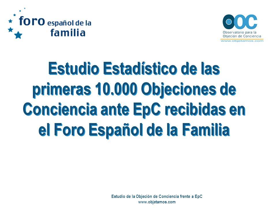 Estudio de la Objeción de Conciencia frente a EpC www.objetamos.com Estudio Estadístico de las primeras 10.000 Objeciones de Conciencia ante EpC recib