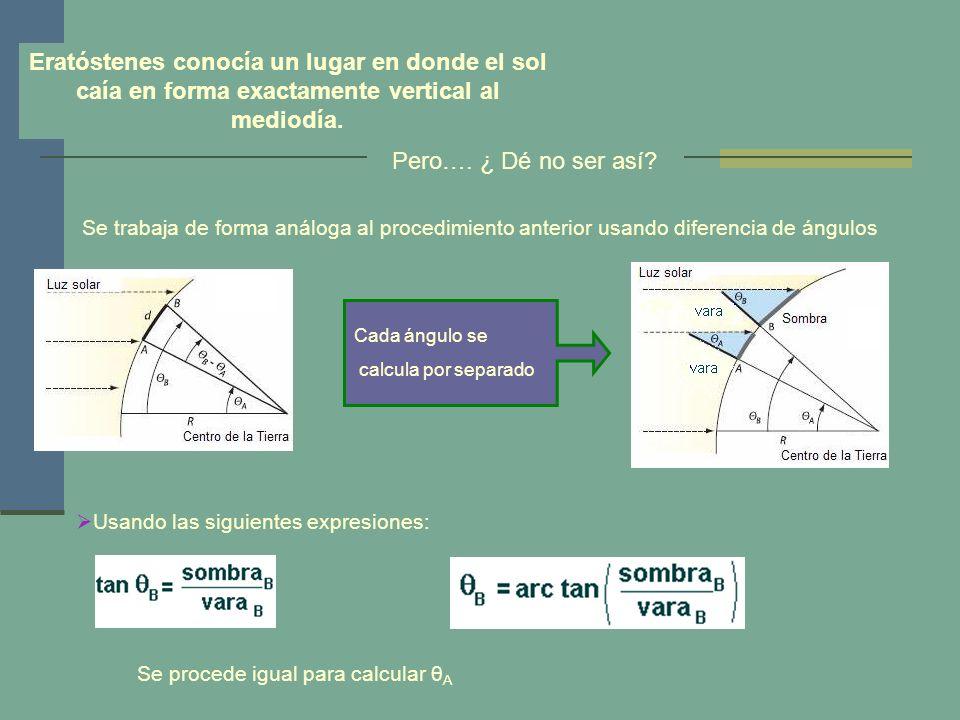 y, de aquí, el radio de la Tierra: Radio Terrestre: 6549 Km Nota : para obtener el valor del ángulo se pude recurrir a la Geometría del problema y a la Trigonometría.