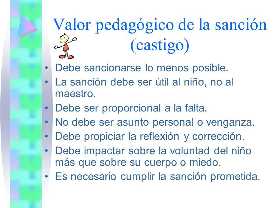 Valor pedagógico de la sanción (castigo) Finalidad –M–Mejorar la conducta del niño eliminando los comportamientos que no son socialmente aceptados (no solo porque sean molestos al profesor).