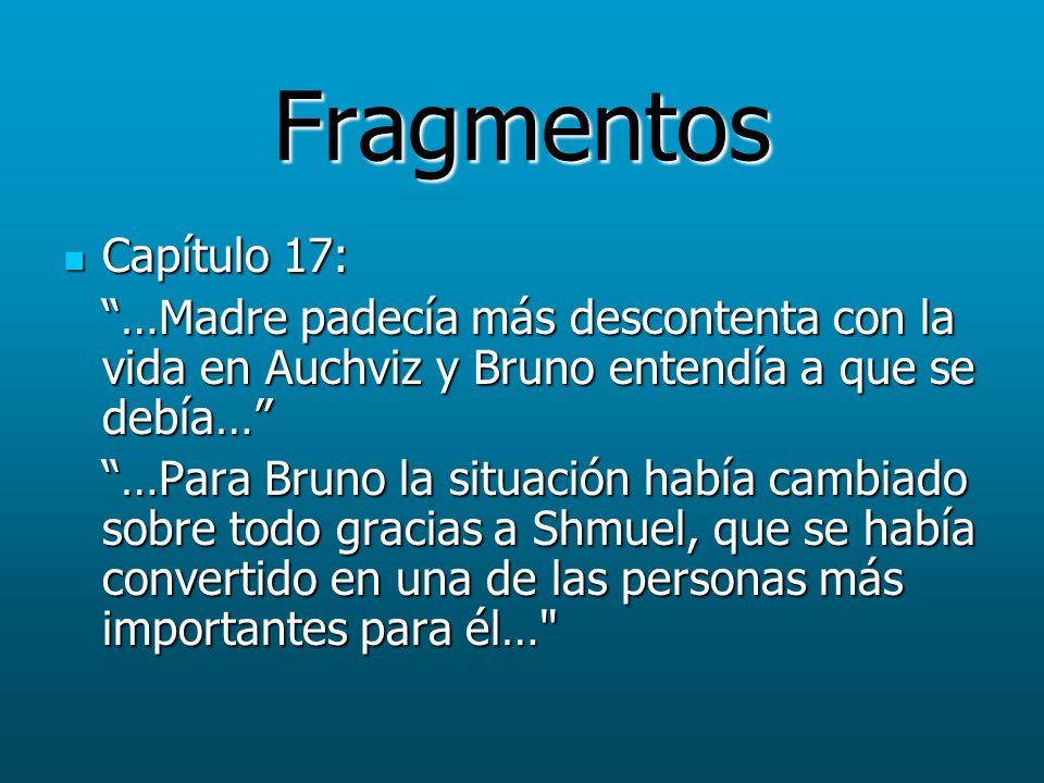 Fragmentos Capítulo 17: Capítulo 17: …Madre padecía más descontenta con la vida en Auchviz y Bruno entendía a que se debía… …Para Bruno la situación h