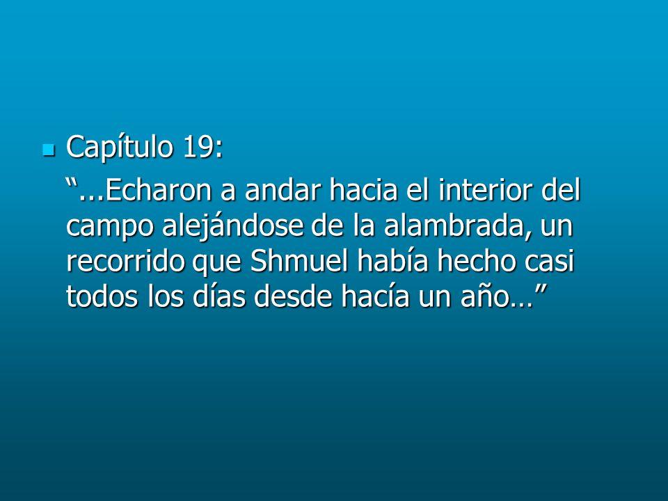 Capítulo 19: Capítulo 19:...Echaron a andar hacia el interior del campo alejándose de la alambrada, un recorrido que Shmuel había hecho casi todos los