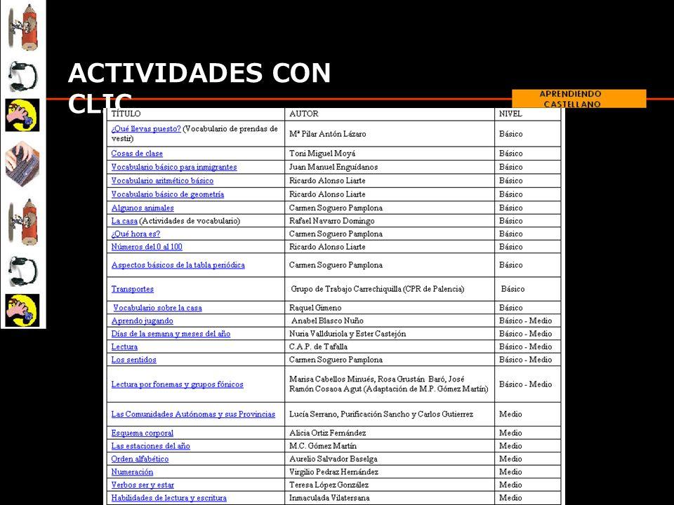 CONTENIDO DEL CD Actividades CLIC: Una selección de actividades de vocabulario y expresiones básicas.