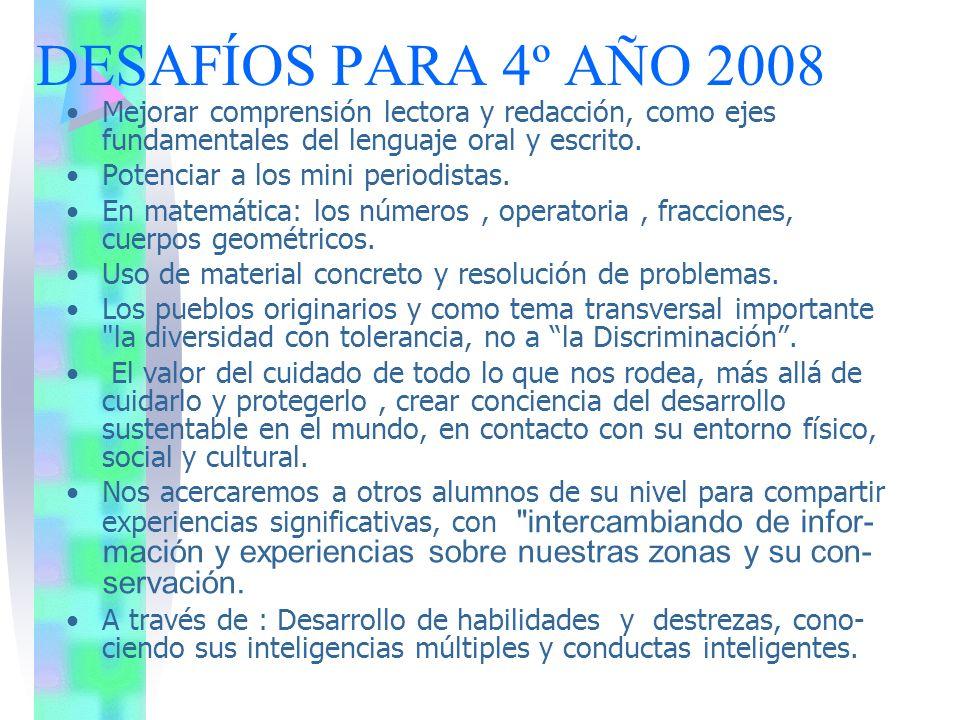 DESAFÍOS PARA 4º AÑO 2008 Mejorar comprensión lectora y redacción, como ejes fundamentales del lenguaje oral y escrito.
