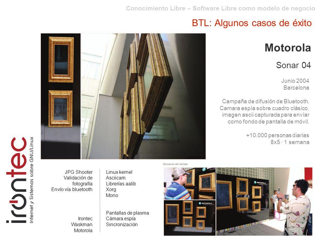 Conocimiento Libre – Software Libre como modelo de negocio BTL: Algunos casos de éxito Motorola Sonar 04 Junio 2004 Barcelona Campaña de difusión de Bluetooth.