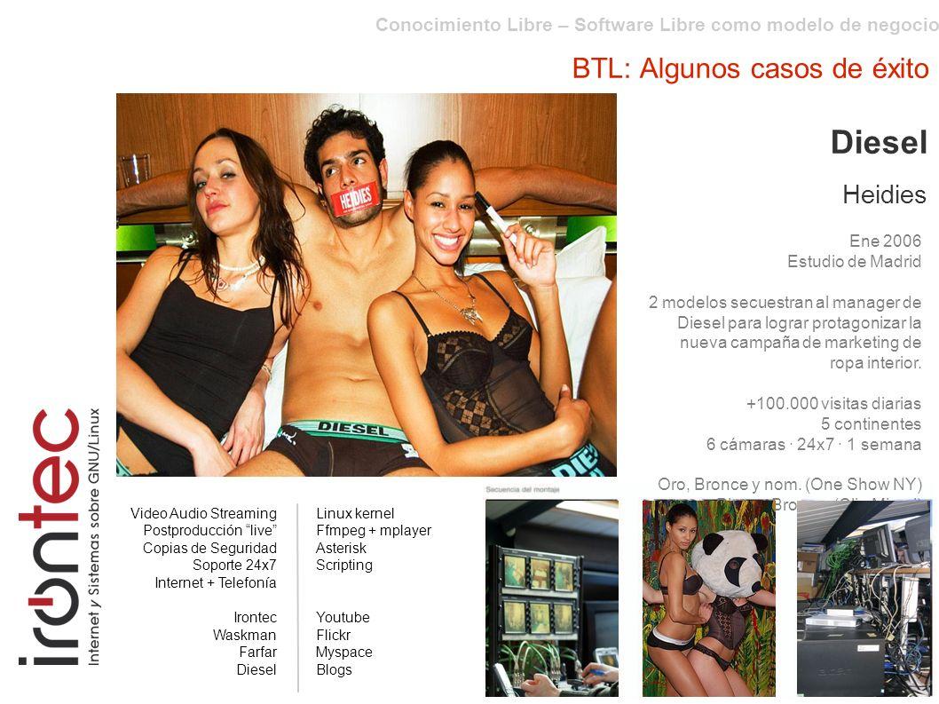 Conocimiento Libre – Software Libre como modelo de negocio BTL: Algunos casos de éxito Diesel Heidies Ene 2006 Estudio de Madrid 2 modelos secuestran al manager de Diesel para lograr protagonizar la nueva campaña de marketing de ropa interior.