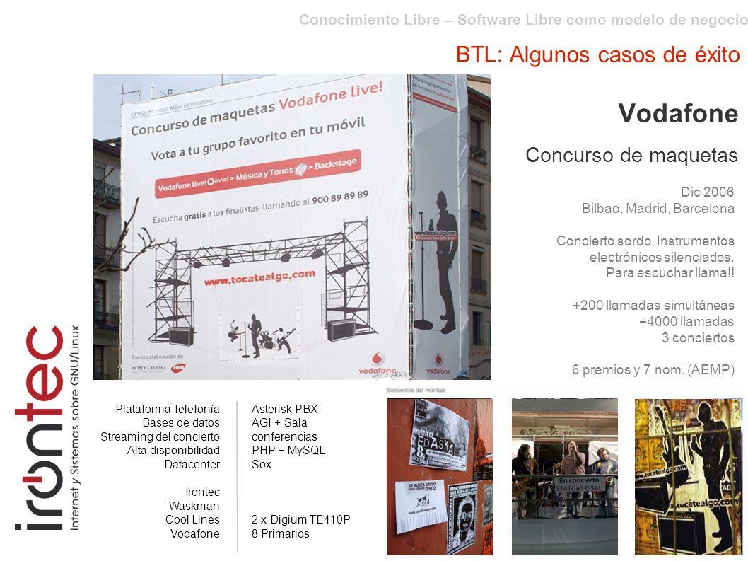 Conocimiento Libre – Software Libre como modelo de negocio BTL: Algunos casos de éxito Vodafone Concurso de maquetas Dic 2006 Bilbao, Madrid, Barcelona Concierto sordo.