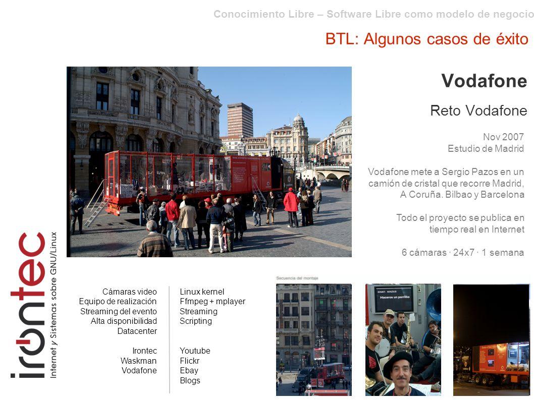 Conocimiento Libre – Software Libre como modelo de negocio BTL: Algunos casos de éxito Vodafone Reto Vodafone Nov 2007 Estudio de Madrid Vodafone mete a Sergio Pazos en un camión de cristal que recorre Madrid, A Coruña.