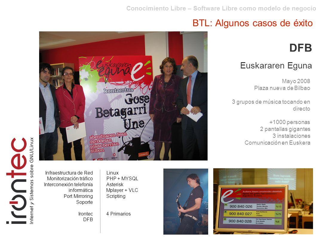 Conocimiento Libre – Software Libre como modelo de negocio BTL: Algunos casos de éxito DFB Euskararen Eguna Mayo 2008 Plaza nueva de Bilbao 3 grupos d