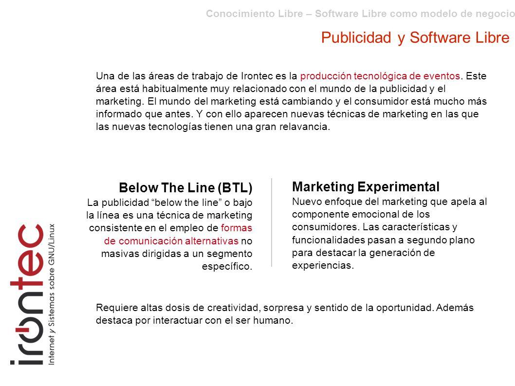 Conocimiento Libre – Software Libre como modelo de negocio Publicidad y Software Libre Below The Line (BTL) La publicidad below the line o bajo la línea es una técnica de marketing consistente en el empleo de formas de comunicación alternativas no masivas dirigidas a un segmento específico.