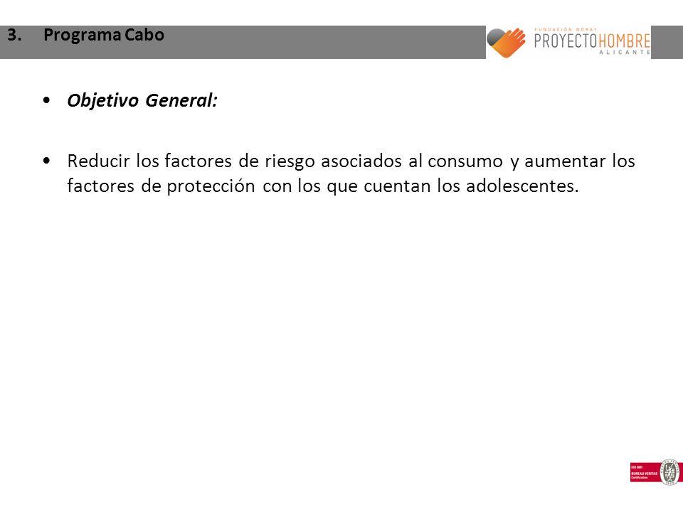 3. Programa Cabo Objetivo General: Reducir los factores de riesgo asociados al consumo y aumentar los factores de protección con los que cuentan los a