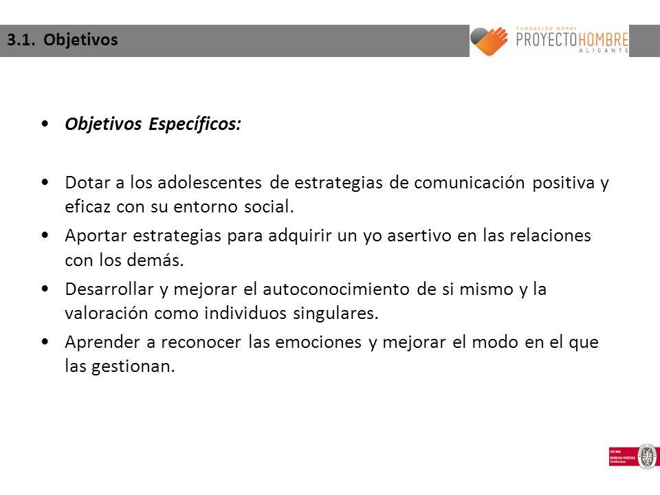 3.1. Objetivos Objetivos Específicos: Dotar a los adolescentes de estrategias de comunicación positiva y eficaz con su entorno social. Aportar estrate