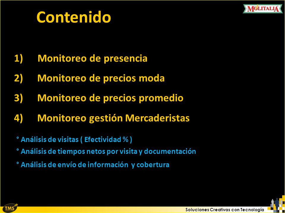 Soluciones Creativas con Tecnología Contenido 1) Monitoreo de presencia 2)Monitoreo de precios moda 3)Monitoreo de precios promedio 4)Monitoreo gestió