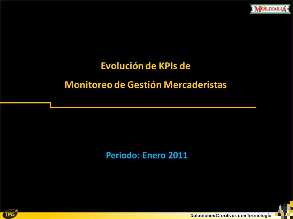 Soluciones Creativas con Tecnología Evolución de KPIs de Monitoreo de Gestión Mercaderistas Periodo: Enero 2011