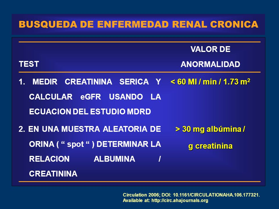 BUSQUEDA DE ENFERMEDAD RENAL CRONICA > 30 mg albúmina / g creatinina 2.