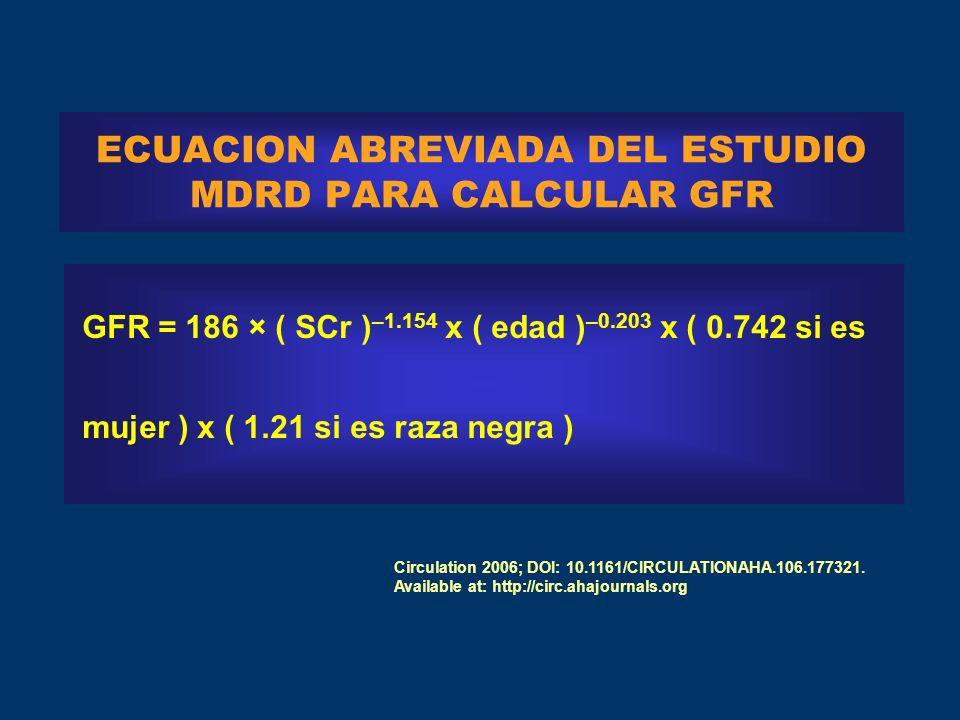 ECUACION ABREVIADA DEL ESTUDIO MDRD PARA CALCULAR GFR GFR = 186 × ( SCr ) –1.154 x ( edad ) –0.203 x ( 0.742 si es mujer ) x ( 1.21 si es raza negra ) Circulation 2006; DOI: 10.1161/CIRCULATIONAHA.106.177321.