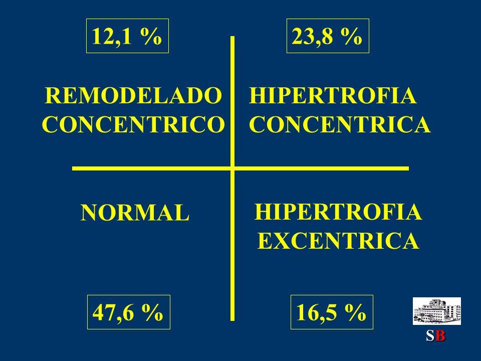 47,6 % 12,1 %23,8 % 16,5 % NORMAL REMODELADO CONCENTRICO HIPERTROFIA CONCENTRICA HIPERTROFIA EXCENTRICA SBSBSBSB