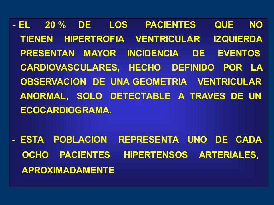 - EL 20 % DE LOS PACIENTES QUE NO TIENEN HIPERTROFIA VENTRICULAR IZQUIERDA PRESENTAN MAYOR INCIDENCIA DE EVENTOS CARDIOVASCULARES, HECHO DEFINIDO POR LA OBSERVACION DE UNA GEOMETRIA VENTRICULAR ANORMAL, SOLO DETECTABLE A TRAVES DE UN ECOCARDIOGRAMA.