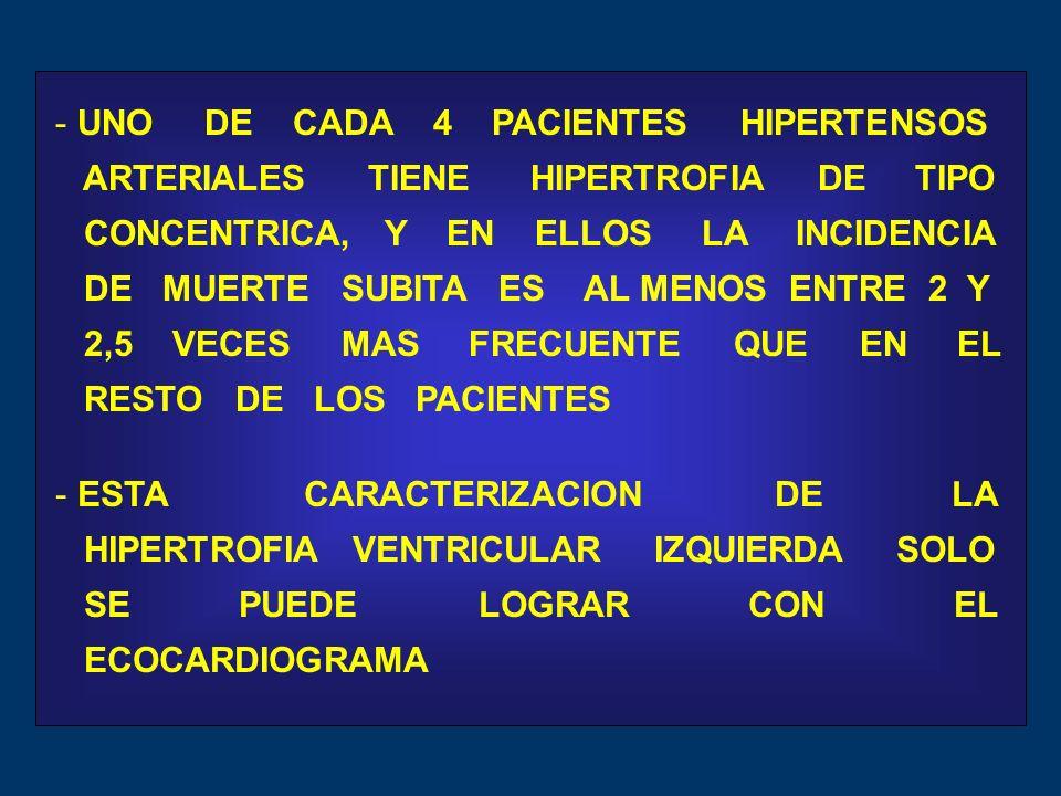 - UNO DE CADA 4 PACIENTES HIPERTENSOS ARTERIALES TIENE HIPERTROFIA DE TIPO CONCENTRICA, Y EN ELLOS LA INCIDENCIA DE MUERTE SUBITA ES AL MENOS ENTRE 2 Y 2,5 VECES MAS FRECUENTE QUE EN EL RESTO DE LOS PACIENTES - ESTA CARACTERIZACION DE LA HIPERTROFIA VENTRICULAR IZQUIERDA SOLO SE PUEDE LOGRAR CON EL ECOCARDIOGRAMA
